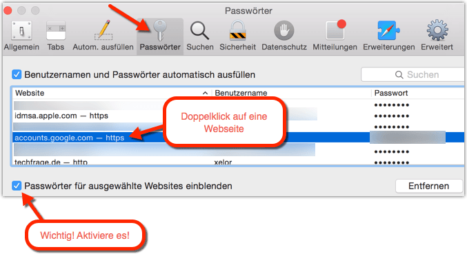 Safari Passwörter/Kennwörter/Passwords anzeigen