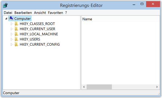 Windows 8 oder 8.1 Registry-Editor