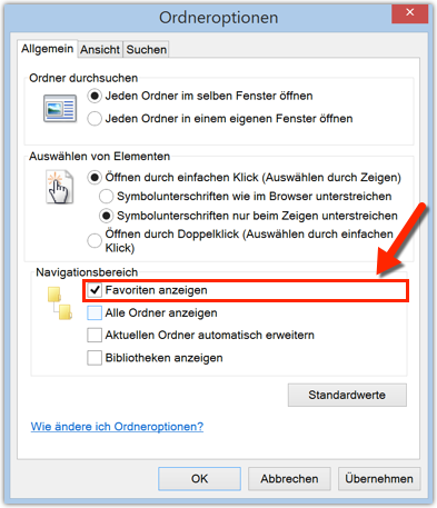 Windows Option: Favoriten anzeigen
