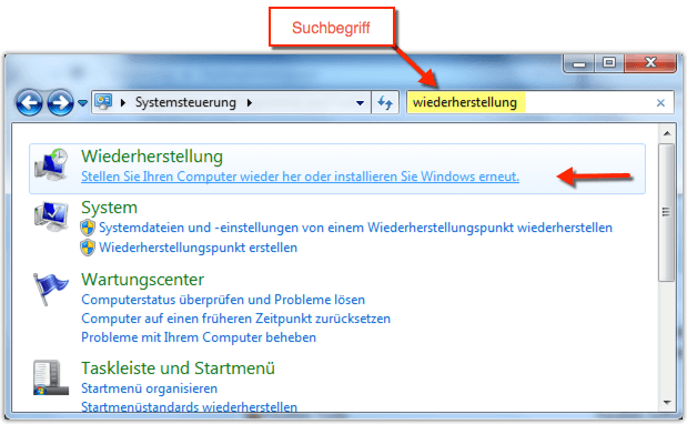 Windows 7 Wiederherstellung