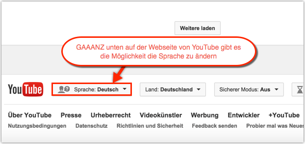 YouTube: Sprache ändern
