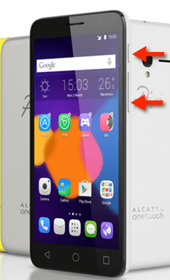 Alcatel OneTouch Pixi 3 Screenshot-Tasten