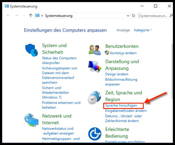 tastatursprache ändern windows