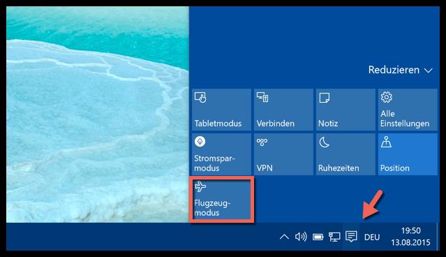 Flugzeugmodus Windows 10