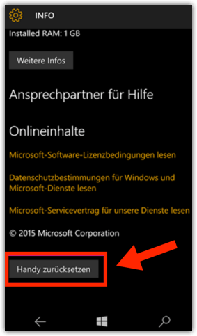 Windows 10 Mobile: Handy zurücksetzen