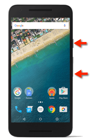 Google Nexus 5X Screenshot-Tasten