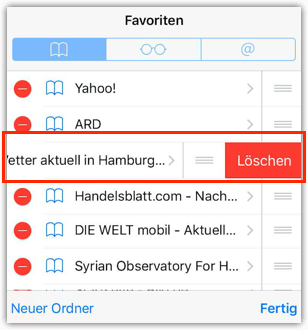 Favoriten löschen iOS Safari